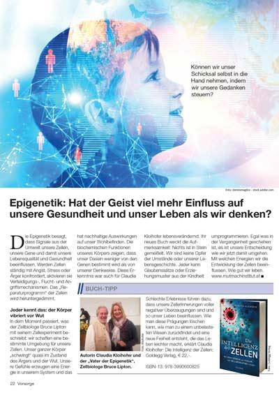 Artikel in der Kronen Zeitung - Intelligenz der Zellen