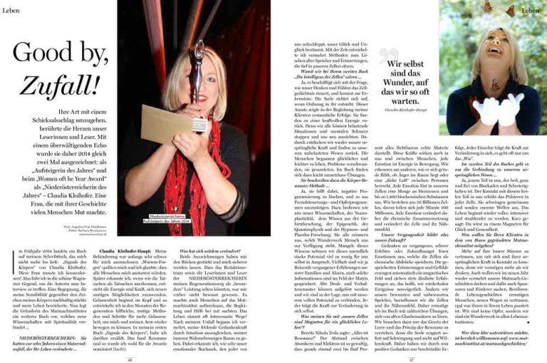 Presseartikel Goodbye Zufall über Claudia Kloihofer-Haupt