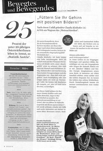 Artikel in der Welt der Frau über Claudia Kloihofer-Haupt